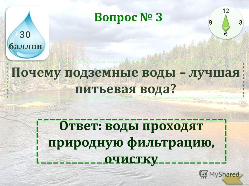 30 баллов 12 9 3 6 Вопрос 3 Почему подземные воды – лучшая питьевая вода? Ответ: воды проходят природную фильтрацию, очистку