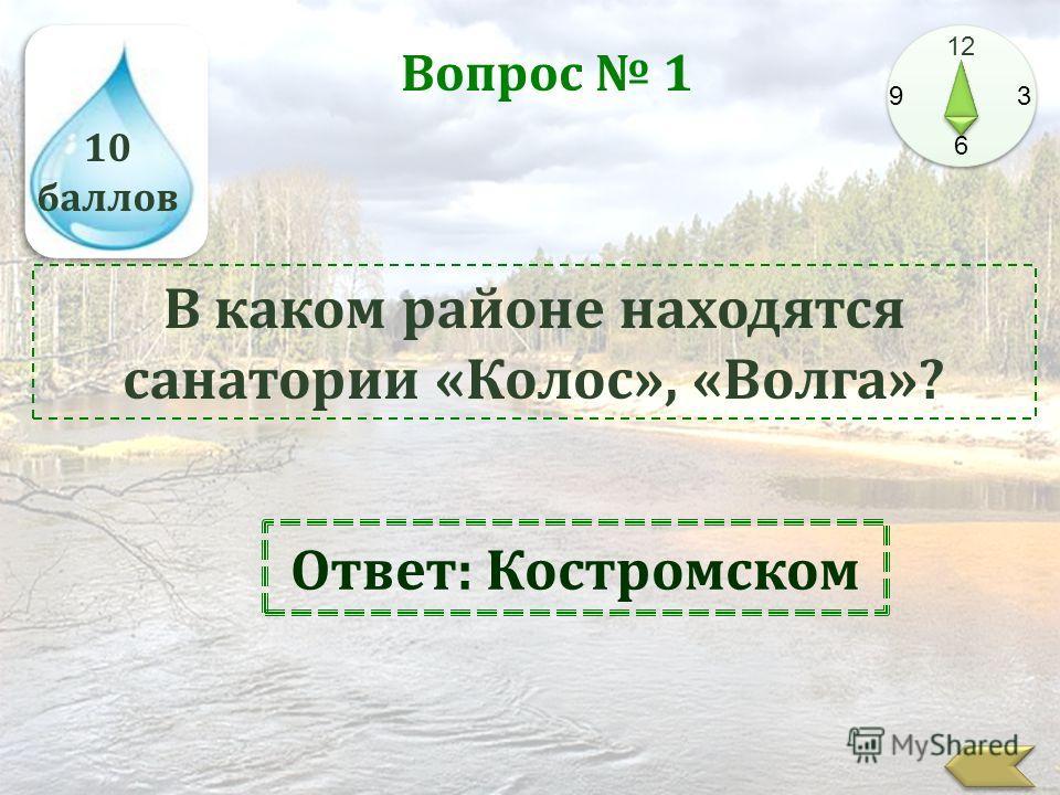 10 баллов 12 9 3 6 Вопрос 1 В каком районе находятся санатории «Колос», «Волга»? Ответ: Костромском