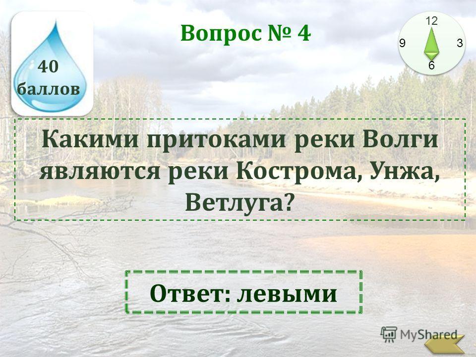 40 баллов 12 9 3 6 Вопрос 4 Какими притоками реки Волги являются реки Кострома, Унжа, Ветлуга? Ответ: левыми