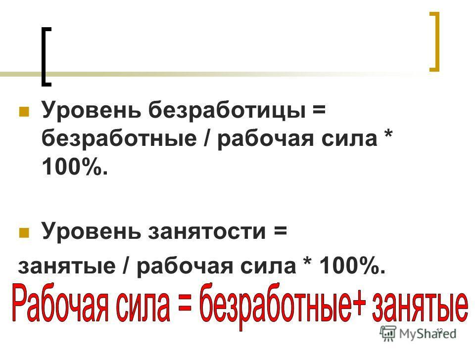 12 Уровень безработицы = безработные / рабочая сила * 100%. Уровень занятости = занятые / рабочая сила * 100%.