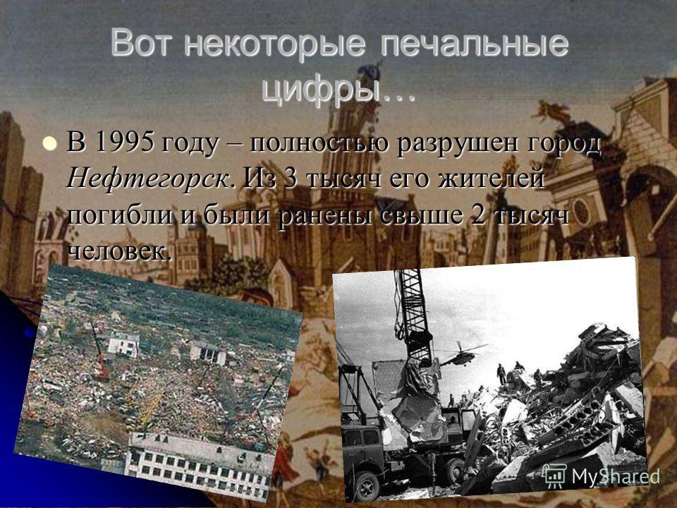 Вот некоторые печальные цифры… В 1995 году – полностью разрушен город Нефтегорск. Из 3 тысяч его жителей погибли и были ранены свыше 2 тысяч человек. В 1995 году – полностью разрушен город Нефтегорск. Из 3 тысяч его жителей погибли и были ранены свыш