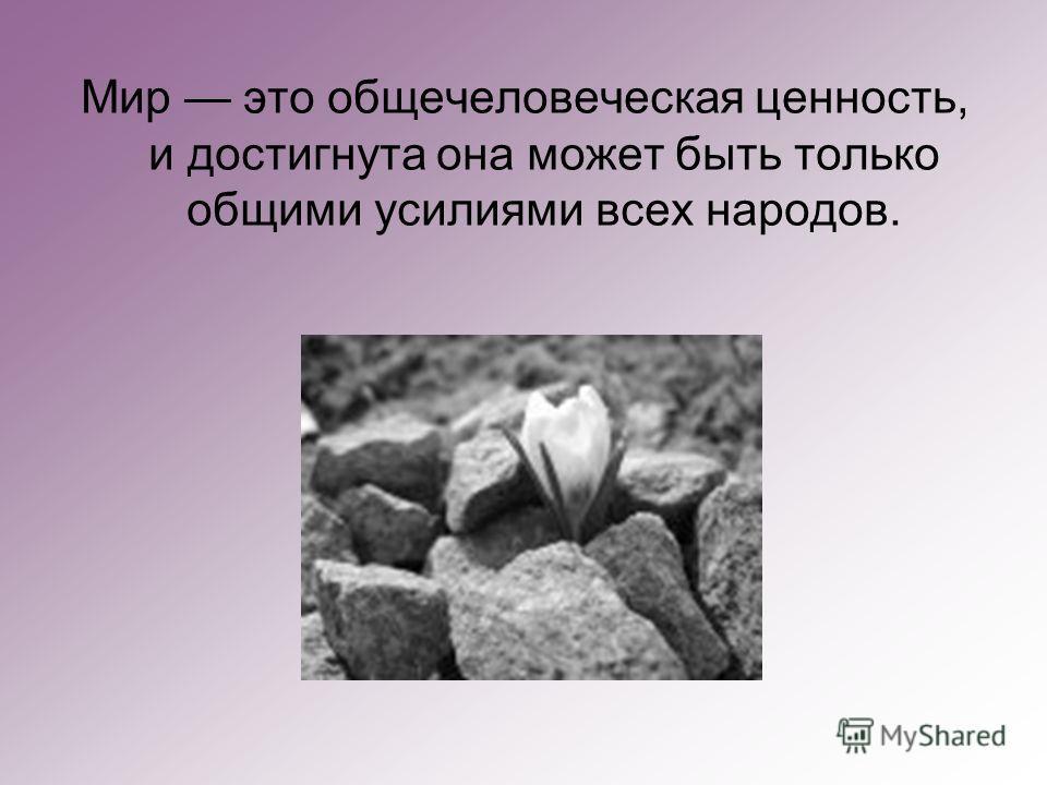 Мир это общечеловеческая ценность, и достигнута она может быть только общими усилиями всех народов.