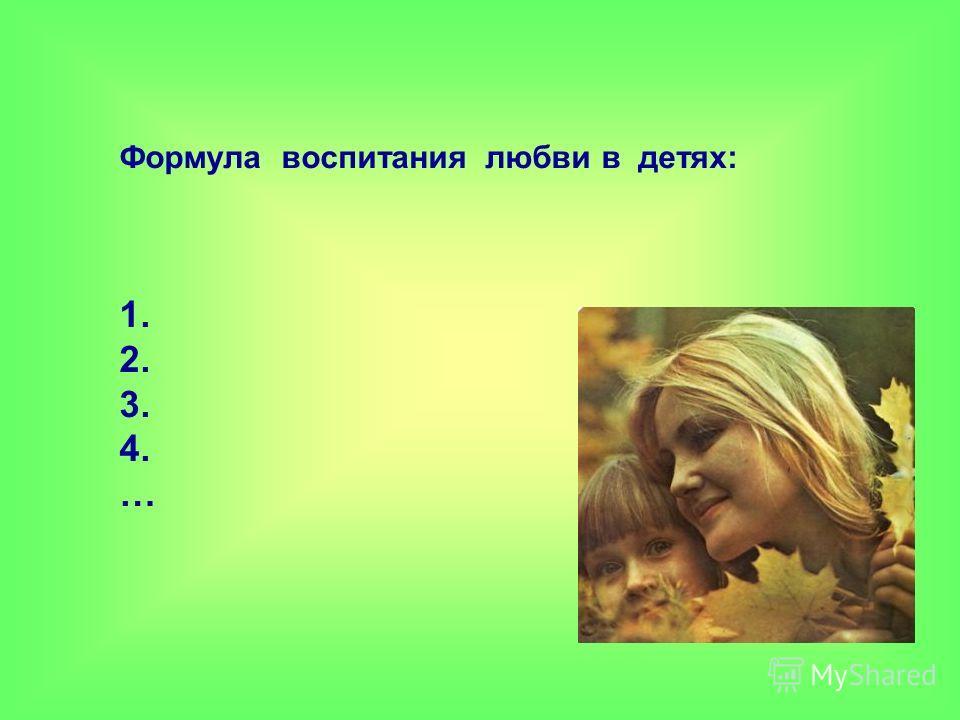 Формула воспитания любви в детях: 1. 2. 3. 4. …