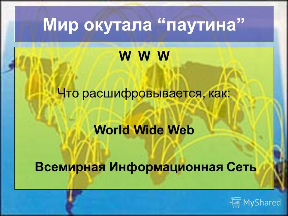 Мир окутала паутина W W W Что расшифровывается, как: World Wide Web Всемирная Информационная Сеть