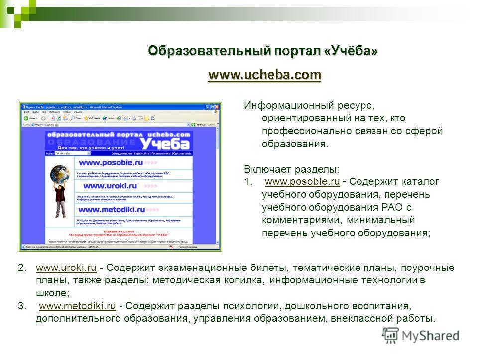 Образовательный портал «Учёба» www.ucheba.com www.ucheba.comwww.ucheba.com Информационный ресурс, ориентированный на тех, кто профессионально связан со сферой образования. Включает разделы: 1. www.posobie.ru - Содержит каталог учебного оборудования,