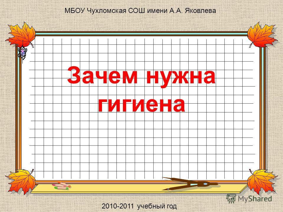 Зачем нужна гигиена МБОУ Чухломская СОШ имени А.А. Яковлева 2010-2011 учебный год