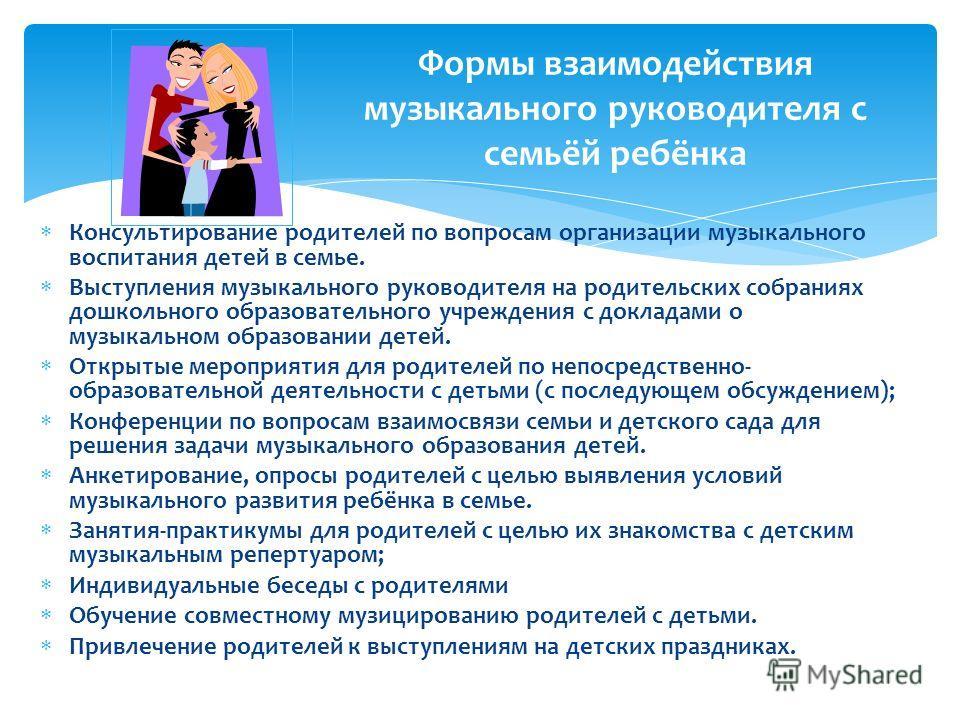 Консультирование родителей по вопросам организации музыкального воспитания детей в семье. Выступления музыкального руководителя на родительских собраниях дошкольного образовательного учреждения с докладами о музыкальном образовании детей. Открытые ме