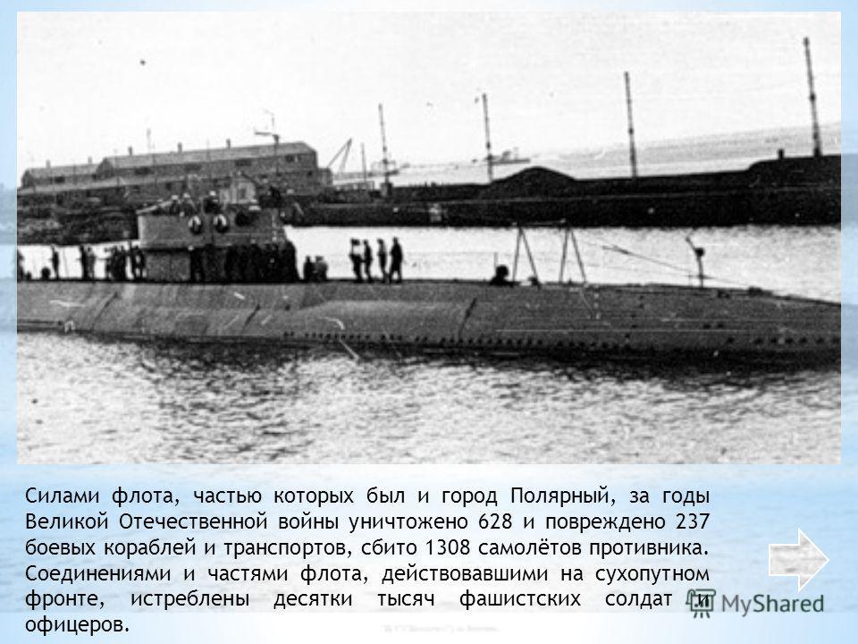 Силами флота, частью которых был и город Полярный, за годы Великой Отечественной войны уничтожено 628 и повреждено 237 боевых кораблей и транспортов, сбито 1308 самолётов противника. Соединениями и частями флота, действовавшими на сухопутном фронте,