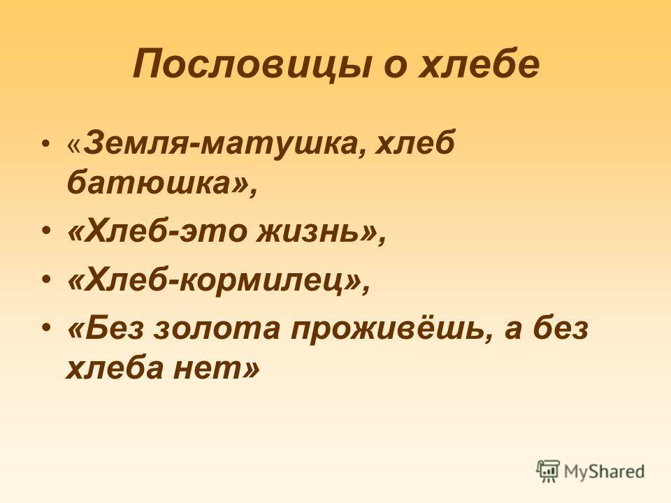 Пословицы о хлебе « Земля-матушка, хлеб батюшка», «Хлеб-это жизнь», «Хлеб-кормилец», «Без золота проживёшь, а без хлеба нет»