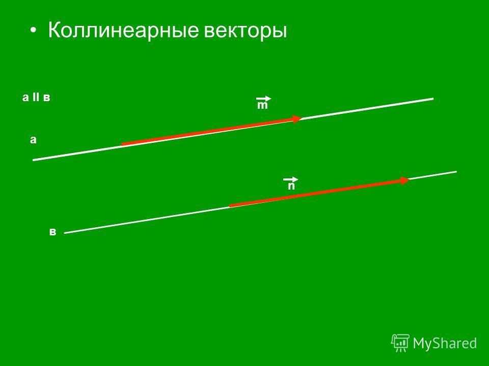 Коллинеарные векторы а в а II в m n