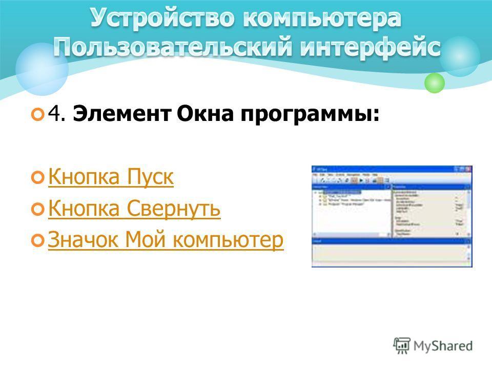 4. Элемент Окна программы: Кнопка Пуск Кнопка Свернуть Значок Мой компьютер