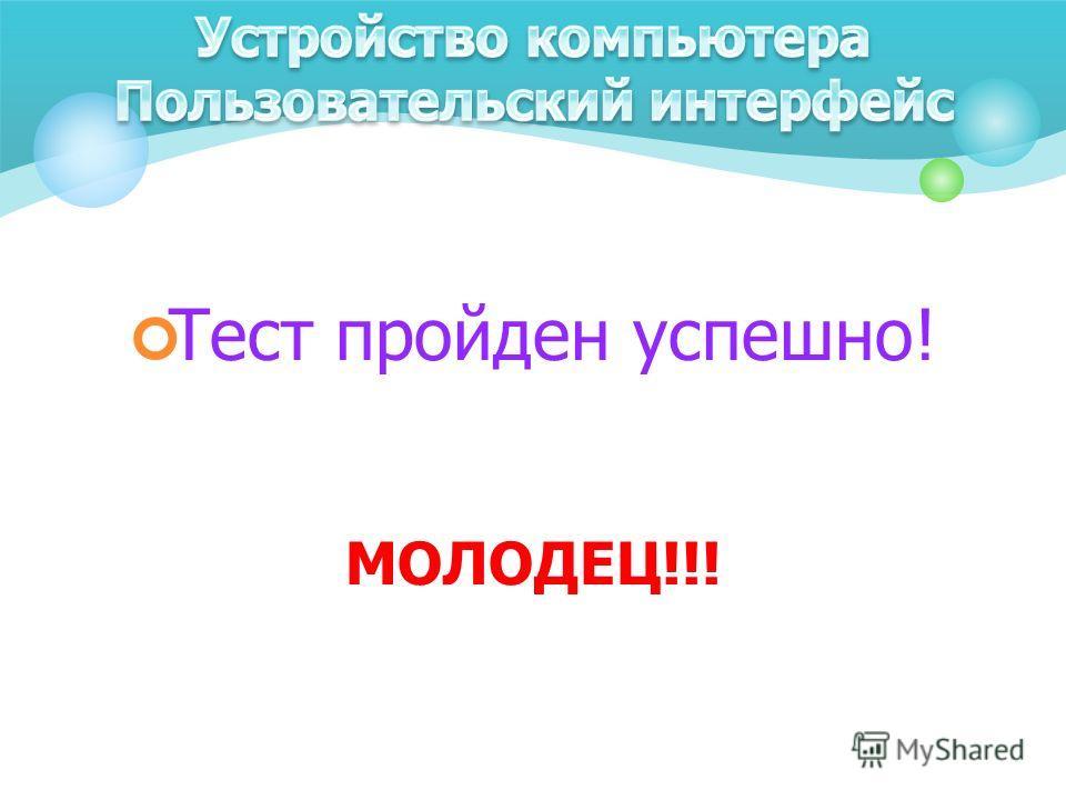 Тест пройден успешно! МОЛОДЕЦ!!!