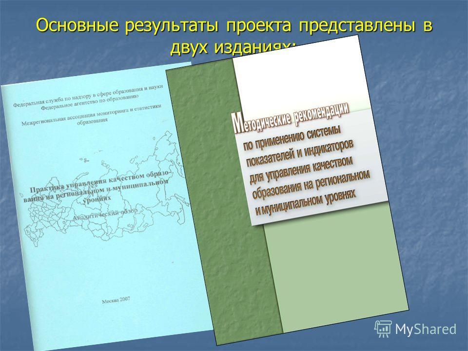 Основные результаты проекта представлены в двух изданиях: