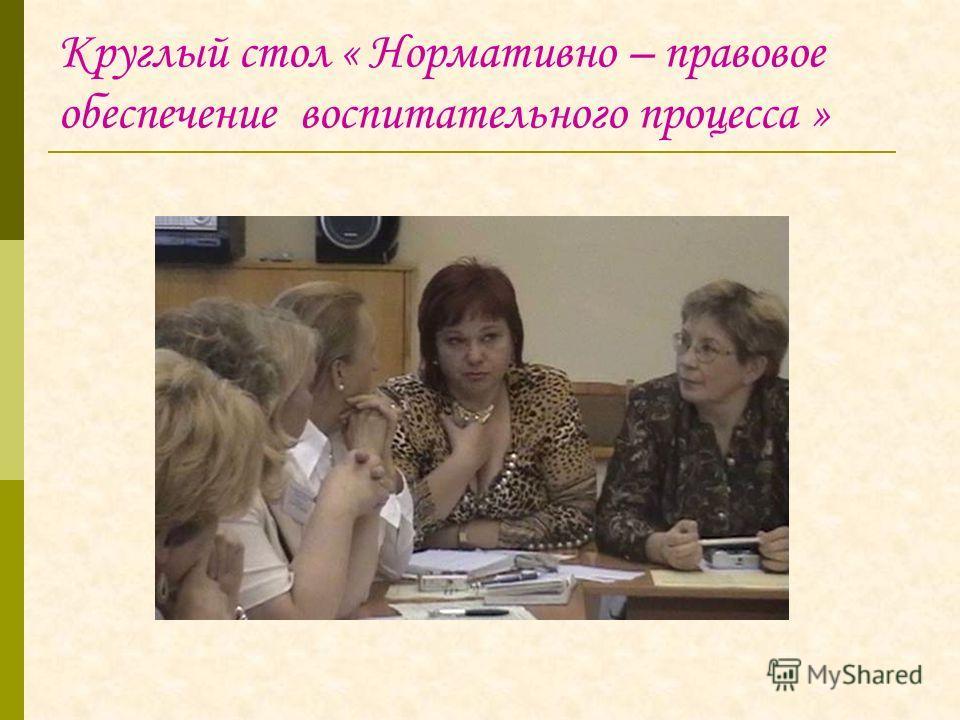 Круглый стол « Нормативно – правовое обеспечение воспитательного процесса »