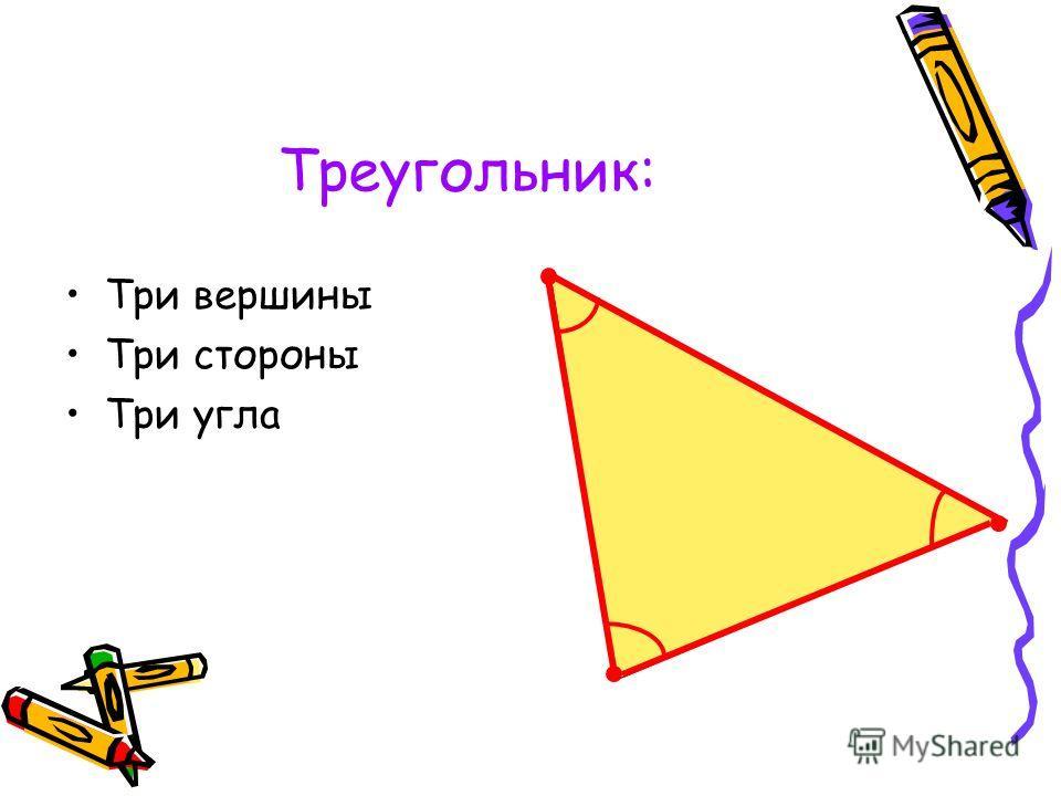 Треугольник: Три вершины Три стороны Три угла