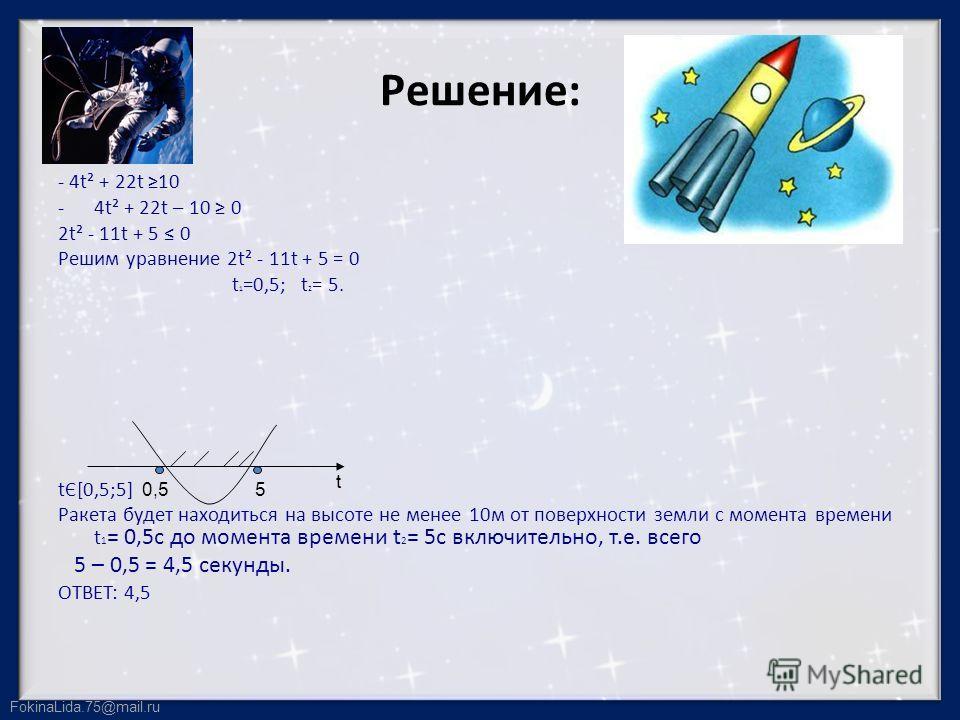 FokinaLida.75@mail.ru Решение: - 4t² + 22t 10 -4t² + 22t – 10 0 2t² - 11t + 5 0 Решим уравнение 2t² - 11t + 5 = 0 t 1 =0,5; t 2 = 5. tЄ[0,5;5] Ракета будет находиться на высоте не менее 10м от поверхности земли с момента времени t 1 = 0,5с до момента