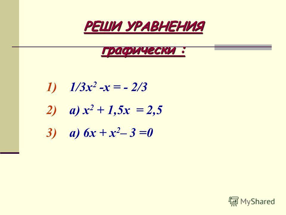 РЕШИ УРАВНЕНИЯ графически : 1) 1/3х 2 -х = - 2/3 2) а) х 2 + 1,5х = 2,5 3) а) 6х + х 2 – 3 =0