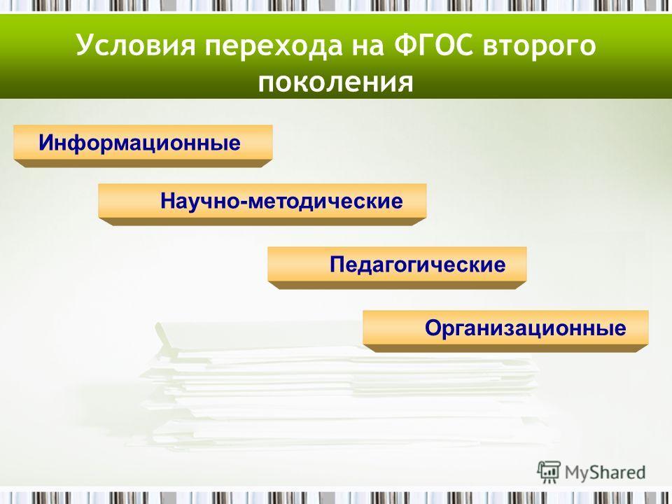 Условия перехода на ФГОС второго поколения Информационные Научно-методические Педагогические Организационные