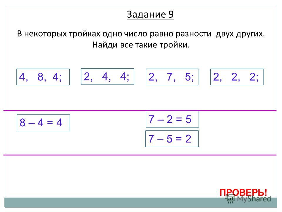 В некоторых тройках одно число равно разности двух других. Найди все такие тройки. 4, 8, 4; 2, 4, 4; 2, 7, 5;2, 2, 2; ПРОВЕРЬ! 8 – 4 = 4 7 – 2 = 5 7 – 5 = 2 Задание 9