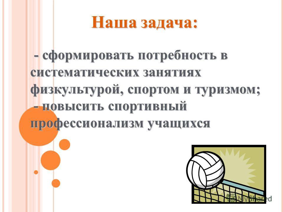- -- - сформировать потребность в систематических занятиях физкультурой, спортом и туризмом; - повысить спортивный профессионализм учащихся Наша задача: