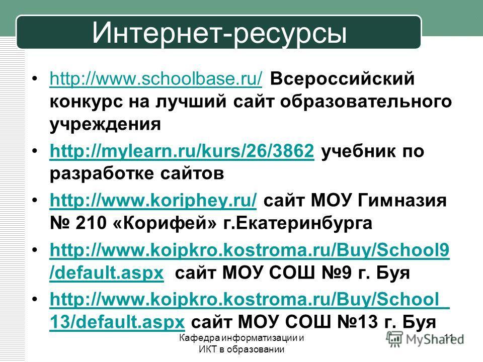 Интернет-ресурсы http://www.schoolbase.ru/ Всероссийский конкурс на лучший сайт образовательного учрежденияhttp://www.schoolbase.ru/ http://mylearn.ru/kurs/26/3862 учебник по разработке сайтовhttp://mylearn.ru/kurs/26/3862 http://www.koriphey.ru/ сай
