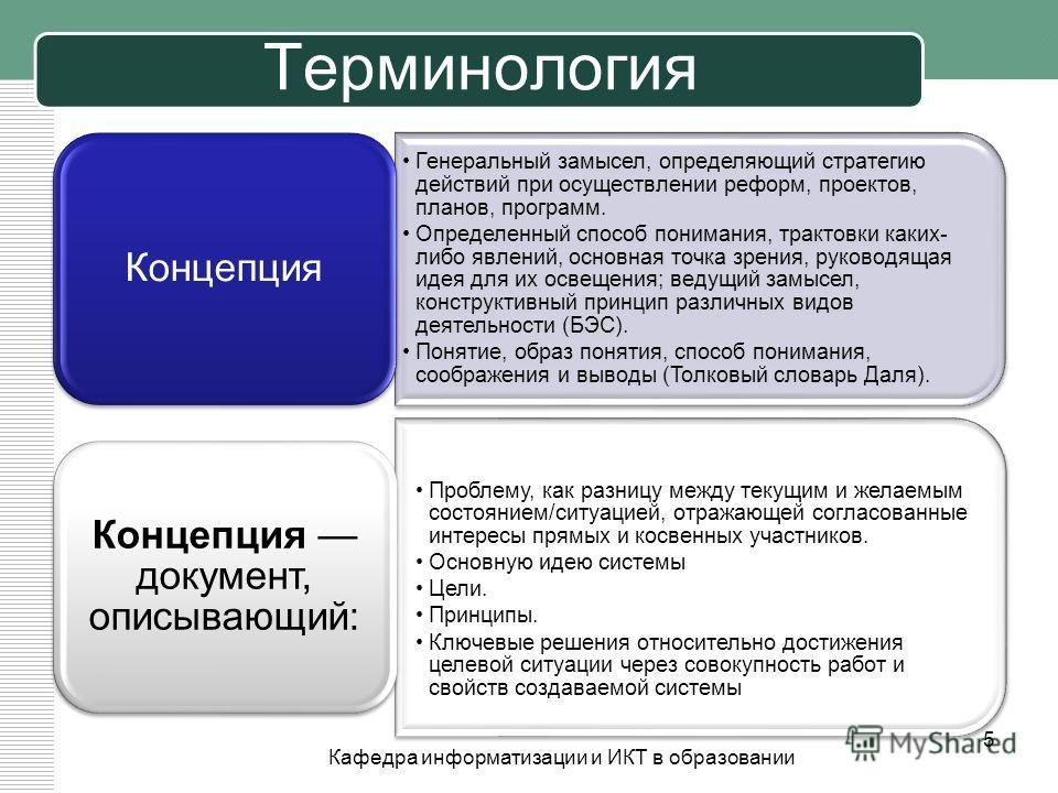 Терминология Генеральный замысел, определяющий стратегию действий при осуществлении реформ, проектов, планов, программ. Определенный способ понимания, трактовки каких- либо явлений, основная точка зрения, руководящая идея для их освещения; ведущий за
