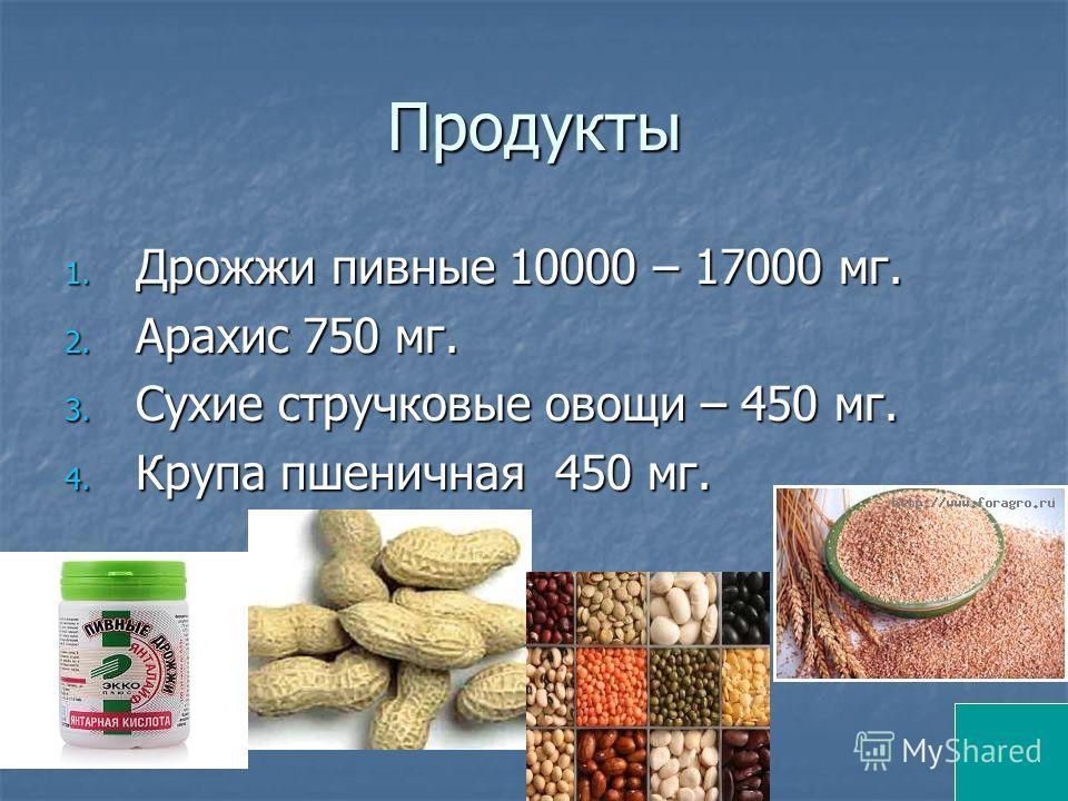 Продукты 1. Дрожжи пивные 10000 – 17000 мг. 2. Арахис 750 мг. 3. Сухие стручковые овощи – 450 мг. 4. Крупа пшеничная 450 мг.