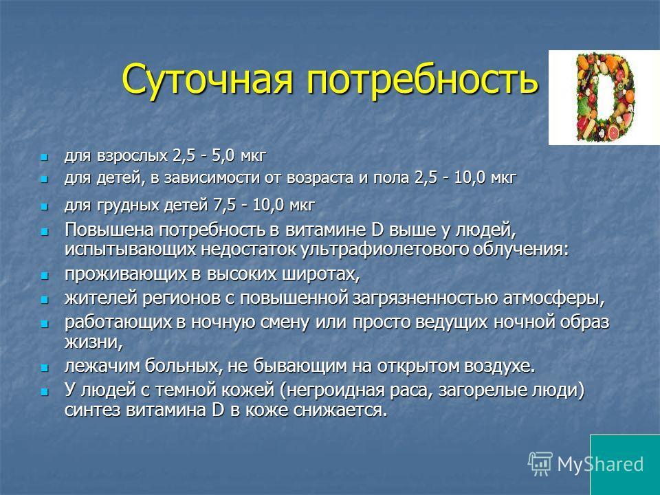 Суточная потребность для взрослых 2,5 - 5,0 мкг для взрослых 2,5 - 5,0 мкг для детей, в зависимости от возраста и пола 2,5 - 10,0 мкг для детей, в зависимости от возраста и пола 2,5 - 10,0 мкг для грудных детей 7,5 - 10,0 мкг для грудных детей 7,5 -