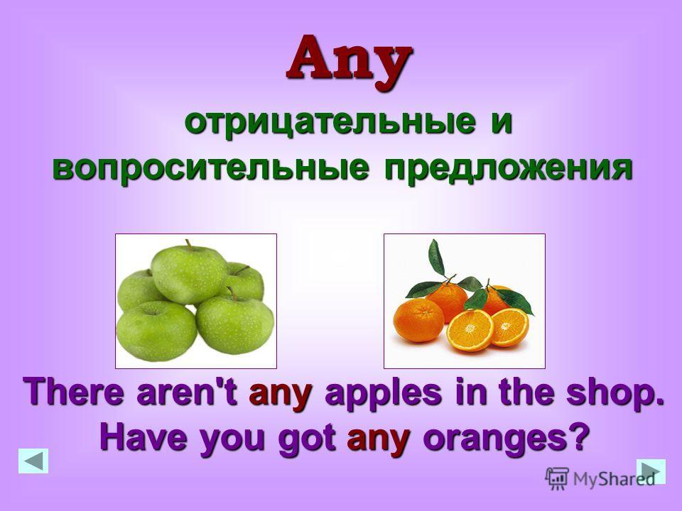 отрицательные и вопросительные предложения отрицательные и вопросительные предложения Any There aren't any apples in the shop. Have you got any oranges?