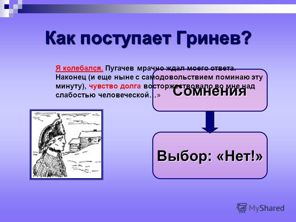 Как поступает Гринев? Сомнения Выбор: «Нет!» Я колебался. Пугачев мрачно ждал моего ответа. Наконец (и еще ныне с самодовольствием поминаю эту минуту), чувство долга восторжествовало во мне над слабостью человеческой…»