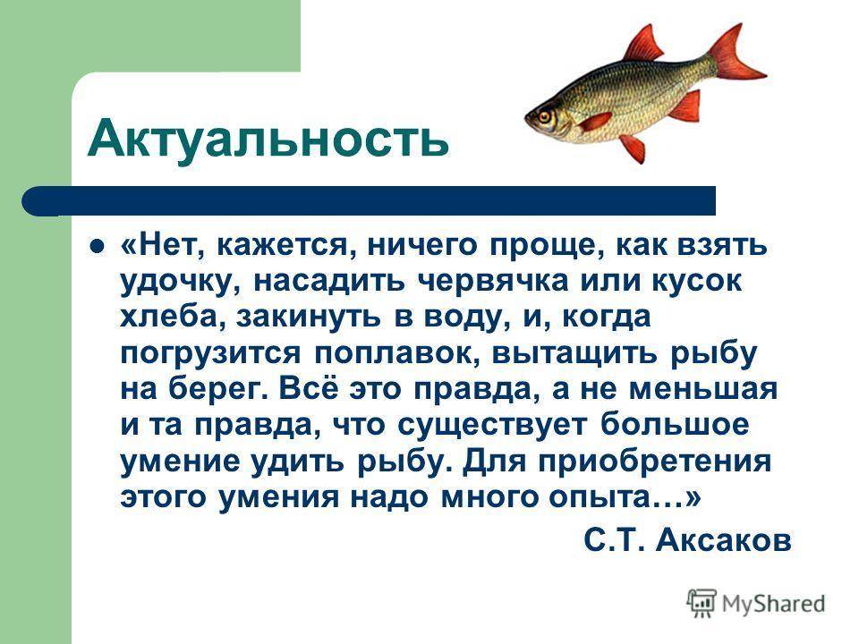 Актуальность «Нет, кажется, ничего проще, как взять удочку, насадить червячка или кусок хлеба, закинуть в воду, и, когда погрузится поплавок, вытащить рыбу на берег. Всё это правда, а не меньшая и та правда, что существует большое умение удить рыбу.