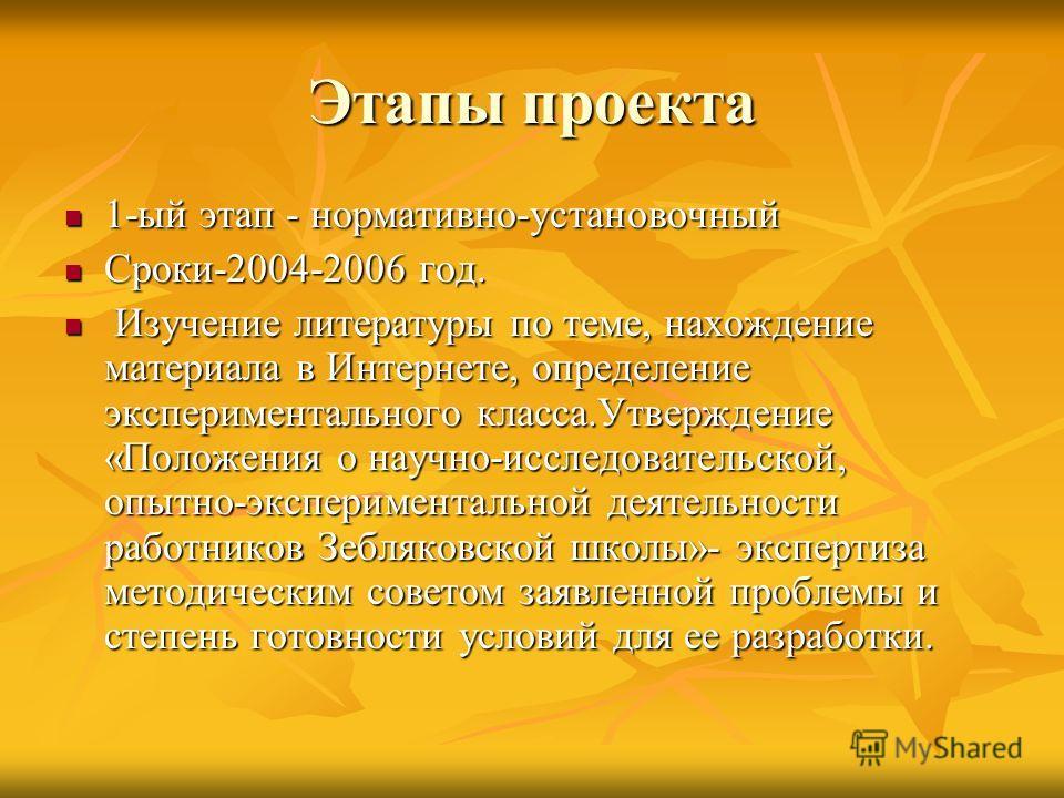 Этапы проекта 1-ый этап - нормативно-установочный 1-ый этап - нормативно-установочный Сроки-2004-2006 год. Сроки-2004-2006 год. Изучение литературы по теме, нахождение материала в Интернете, определение экспериментального класса.Утверждение «Положени