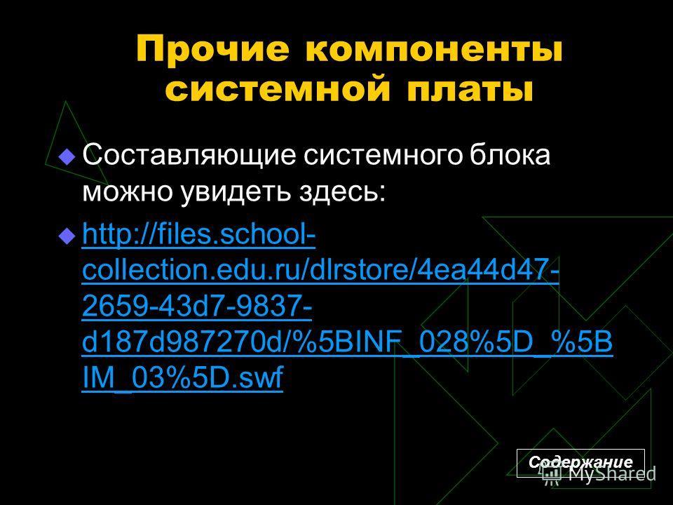 Прочие компоненты системной платы Составляющие системного блока можно увидеть здесь: http://files.school- collection.edu.ru/dlrstore/4ea44d47- 2659-43d7-9837- d187d987270d/%5BINF_028%5D_%5B IM_03%5D.swf http://files.school- collection.edu.ru/dlrstore