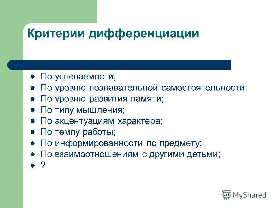 Цели разноуровневого (дифференцированного) обучения 1. Обучение каждого на уровне его возможностей и способностей 2. Приспособление (адаптация) обучения к уровню и особенностям развития различных групп учащихся.