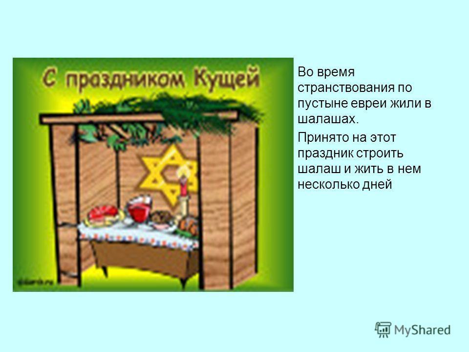Во время странствования по пустыне евреи жили в шалашах. Принято на этот праздник строить шалаш и жить в нем несколько дней