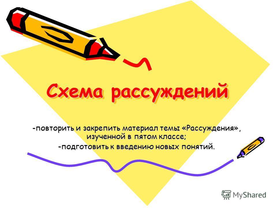 Схема рассуждений -повторить и закрепить материал темы «Рассуждения», изученной в пятом классе; -подготовить к введению новых понятий.