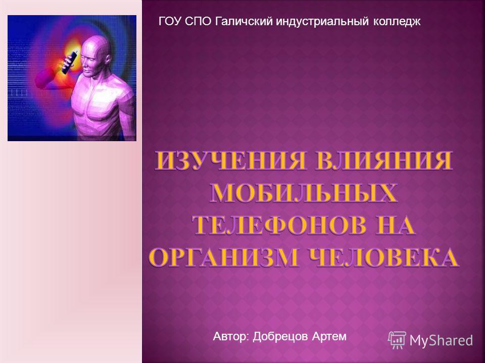 ГОУ СПО Галичский индустриальный колледж Автор: Добрецов Артем