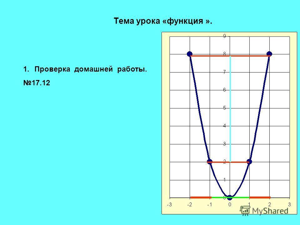 Тема урока «функция ». 1.Проверка домашней работы. 17.12