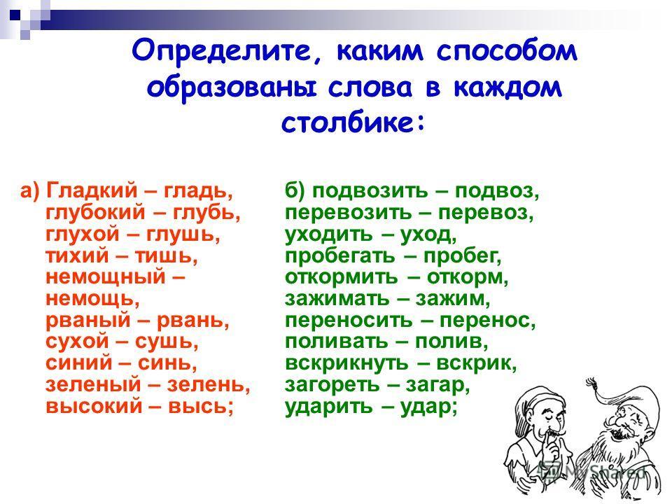 Определите, каким способом образованы слова в каждом столбике: а) Гладкий – гладь, глубокий – глубь, глухой – глушь, тихий – тишь, немощный – немощь, рваный – рвань, сухой – сушь, синий – синь, зеленый – зелень, высокий – высь; б) подвозить – подвоз,