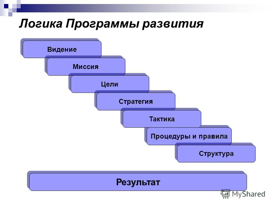 Логика Программы развития Видение Процедуры и правила Миссия Цели Стратегия Тактика Структура Результат