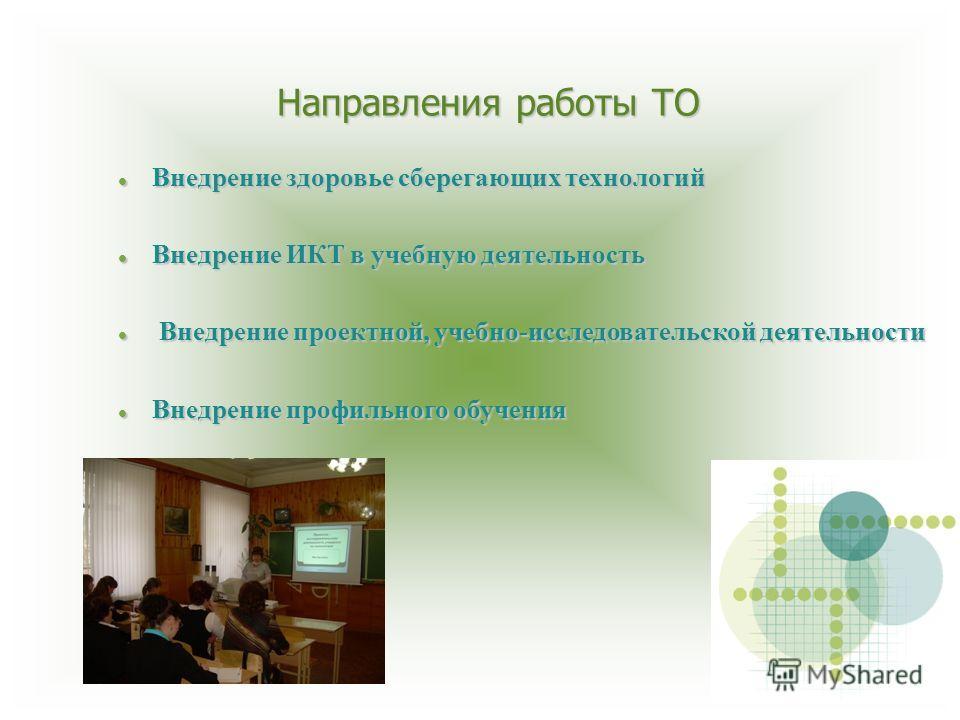 Направления работы ТО Внедрение здоровье сберегающих технологий Внедрение здоровье сберегающих технологий Внедрение ИКТ в учебную деятельность Внедрение ИКТ в учебную деятельность Внедрение проектной, учебно-исследовательской деятельности Внедрение п