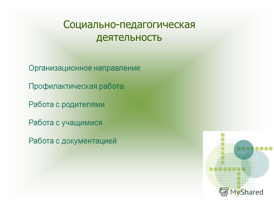 Социально-педагогическая деятельность Организационное направление Профилактическая работа Работа с родителями Работа с учащимися Работа с документацией