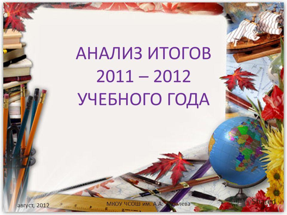 АНАЛИЗ ИТОГОВ 2011 – 2012 УЧЕБНОГО ГОДА август, 2012 МКОУ ЧСОШ им. А.А. Яковлева 1