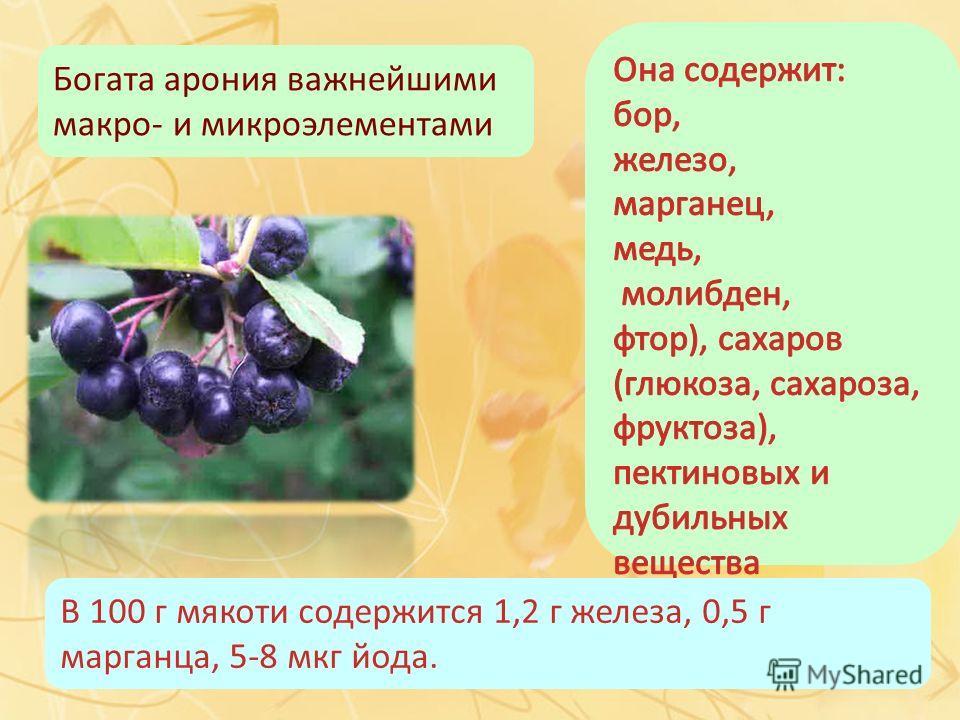 Богата арония важнейшими макро- и микроэлементами В 100 г мякоти содержится 1,2 г железа, 0,5 г марганца, 5-8 мкг йода.