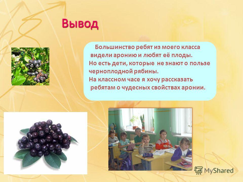 Большинство ребят из моего класса видели аронию и любят её плоды. Но есть дети, которые не знают о пользе черноплодной рябины. На классном часе я хочу рассказать ребятам о чудесных свойствах аронии. Вывод