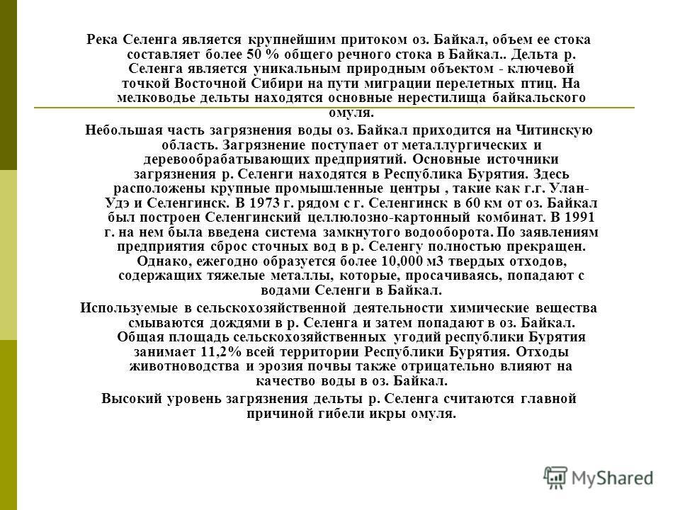 Река Селенга является крупнейшим притоком оз. Байкал, объем ее стока составляет более 50 % общего речного стока в Байкал.. Дельта р. Селенга является уникальным природным объектом - ключевой точкой Восточной Сибири на пути миграции перелетных птиц. Н