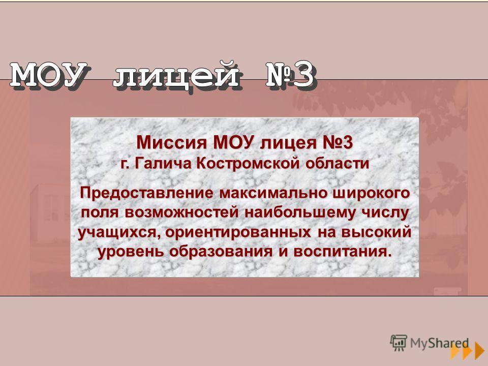 Миссия МОУ лицея 3 г. Галича Костромской области Предоставление максимально широкого поля возможностей наибольшему числу учащихся, ориентированных на высокий уровень образования и воспитания.