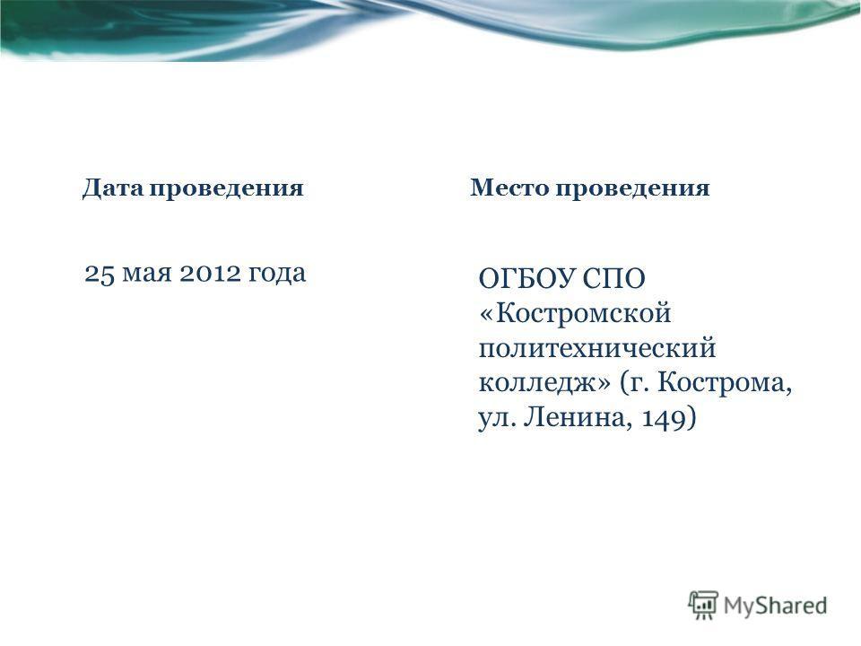 Дата проведения 25 мая 2012 года Место проведения ОГБОУ СПО «Костромской политехнический колледж» (г. Кострома, ул. Ленина, 149)