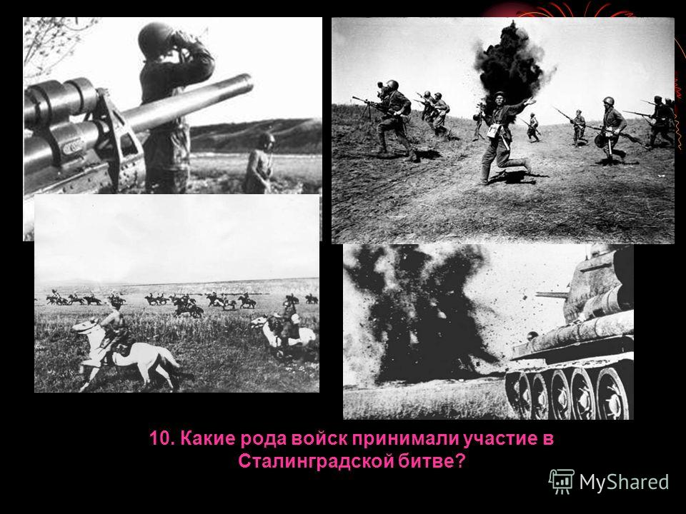 10. Какие рода войск принимали участие в Сталинградской битве?