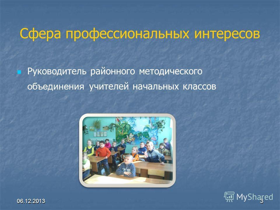 Сфера профессиональных интересов Руководитель районного методического объединения учителей начальных классов 06.12.20133